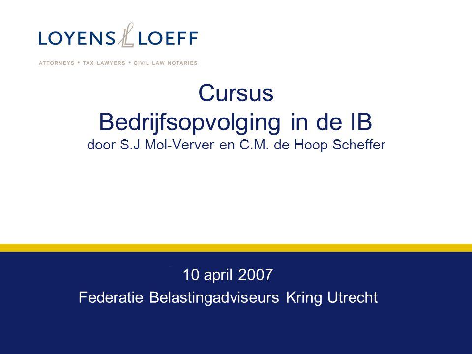 10 april 2007 Federatie Belastingadviseurs Kring Utrecht