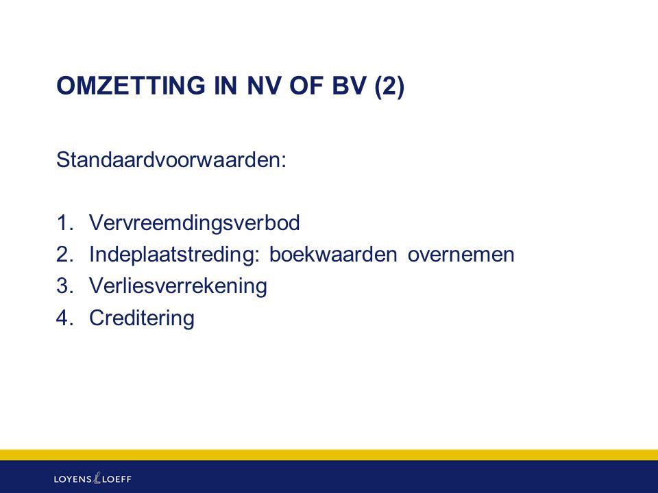 OMZETTING IN NV OF BV (2) Standaardvoorwaarden: 1. Vervreemdingsverbod