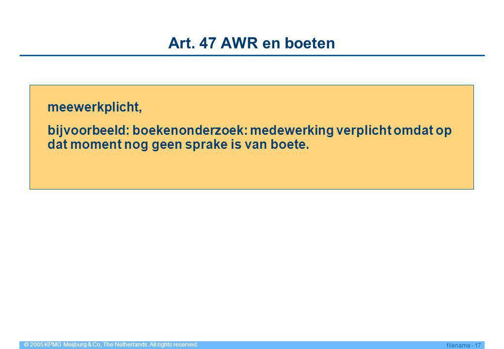 Art. 47 AWR en boeten meewerkplicht,