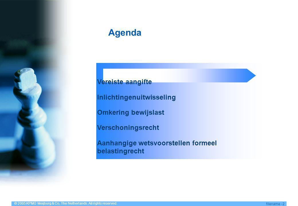 Agenda Vereiste aangifte Inlichtingenuitwisseling Omkering bewijslast