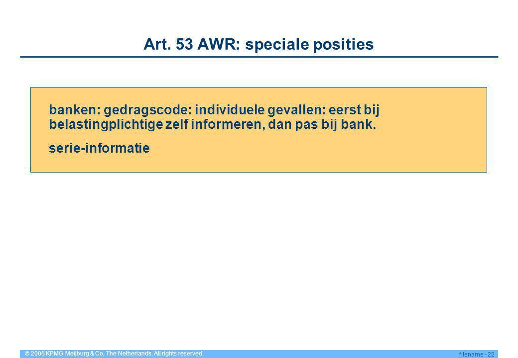 Art. 53 AWR: speciale posities