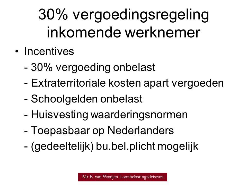 30% vergoedingsregeling inkomende werknemer