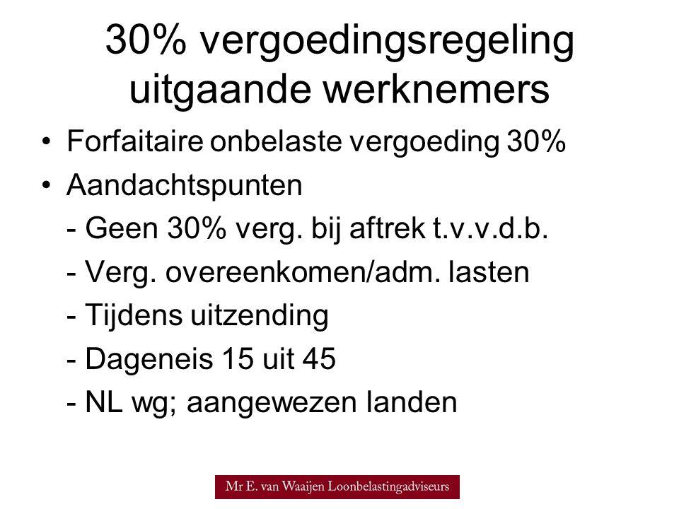 30% vergoedingsregeling uitgaande werknemers