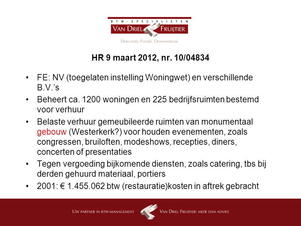 HR 9 maart 2012, nr. 10/04834 FE: NV (toegelaten instelling Woningwet) en verschillende B.V.'s.