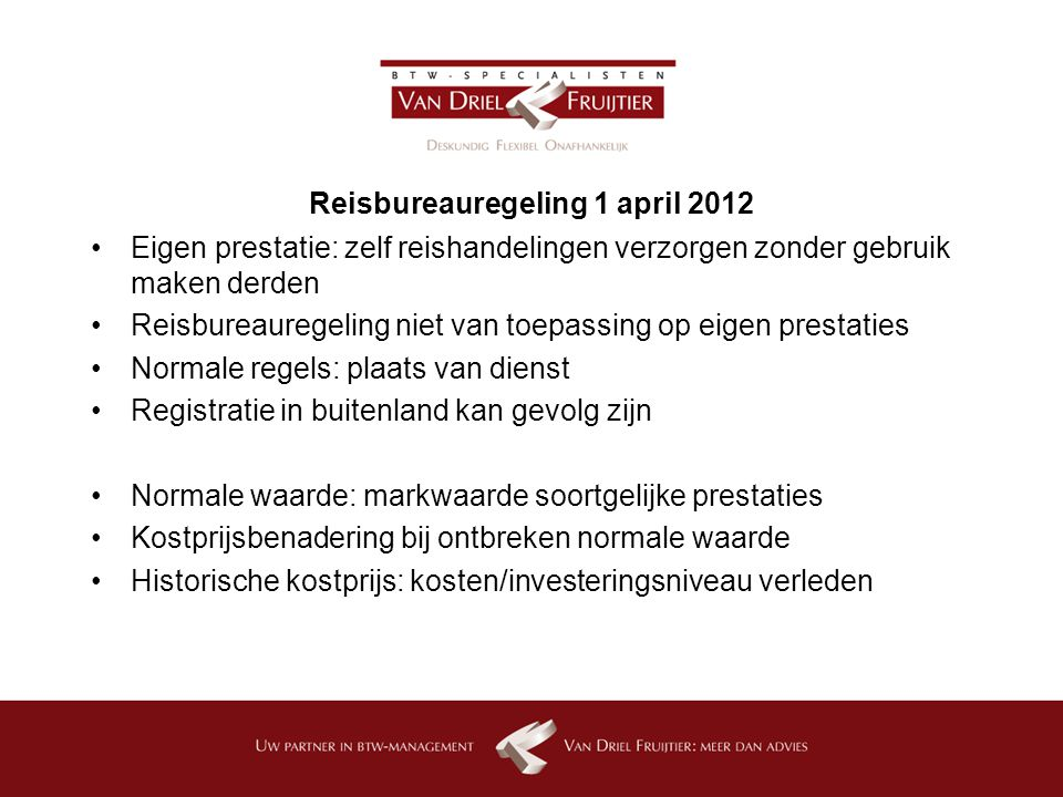 Reisbureauregeling 1 april 2012