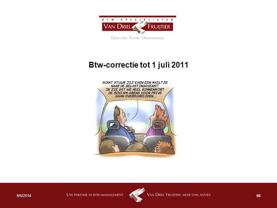 Btw-correctie tot 1 juli 2011