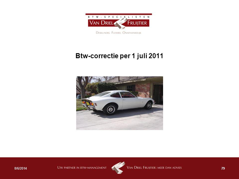 Btw-correctie per 1 juli 2011