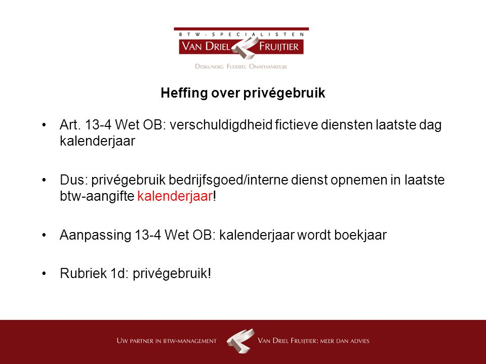 Heffing over privégebruik