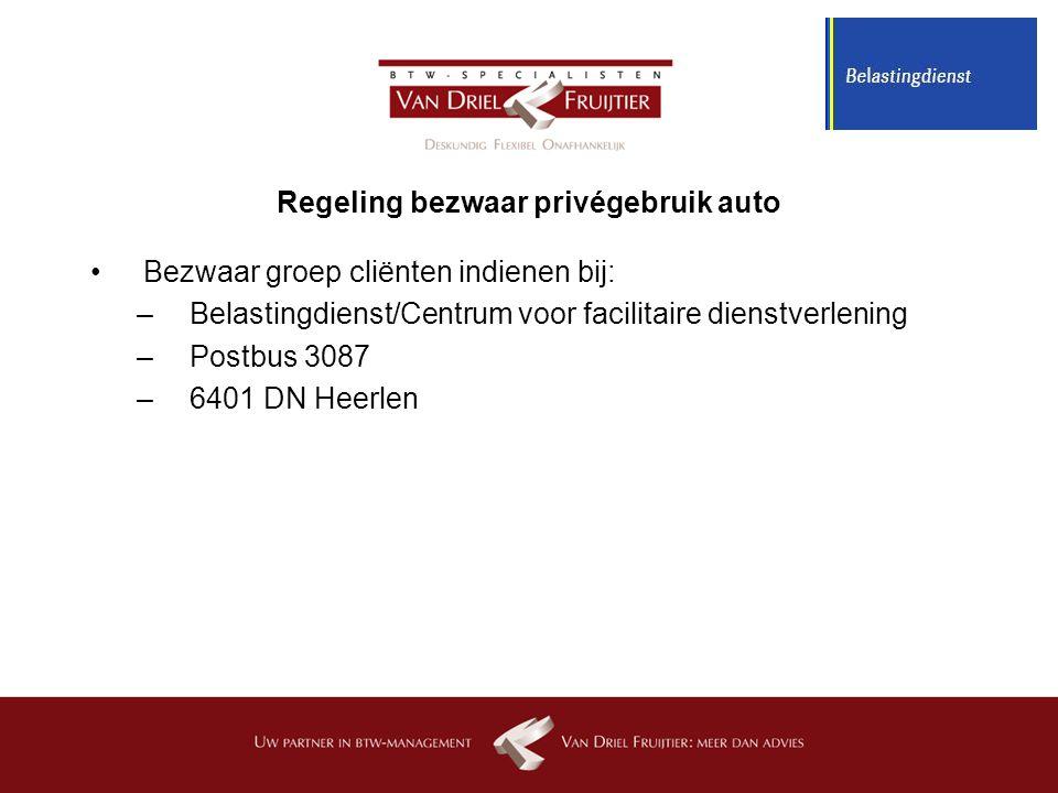 Regeling bezwaar privégebruik auto