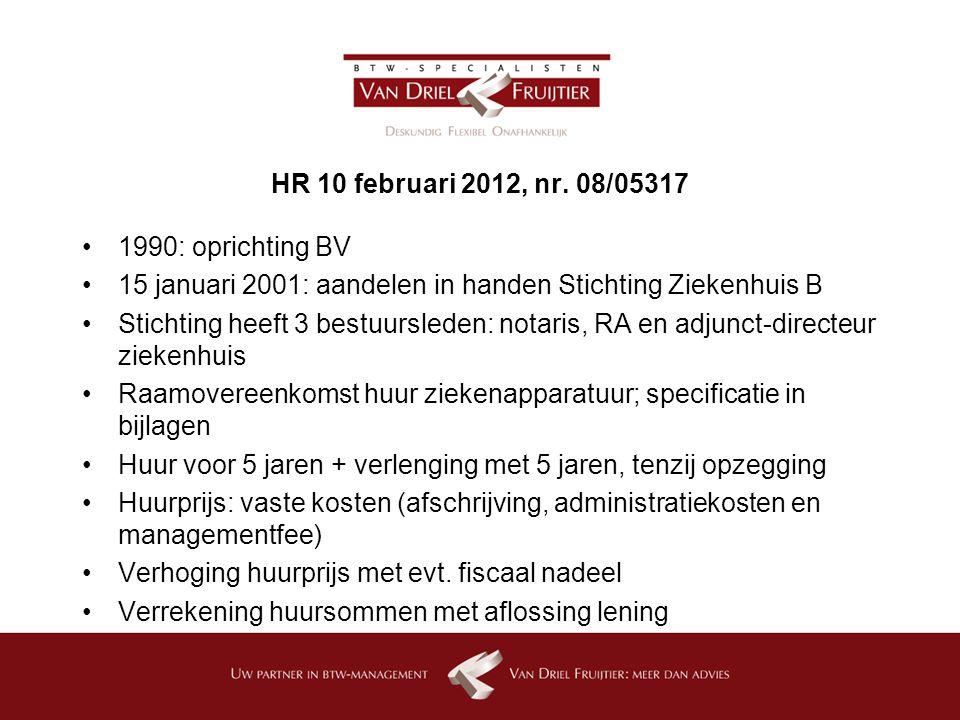 HR 10 februari 2012, nr. 08/05317 1990: oprichting BV. 15 januari 2001: aandelen in handen Stichting Ziekenhuis B.