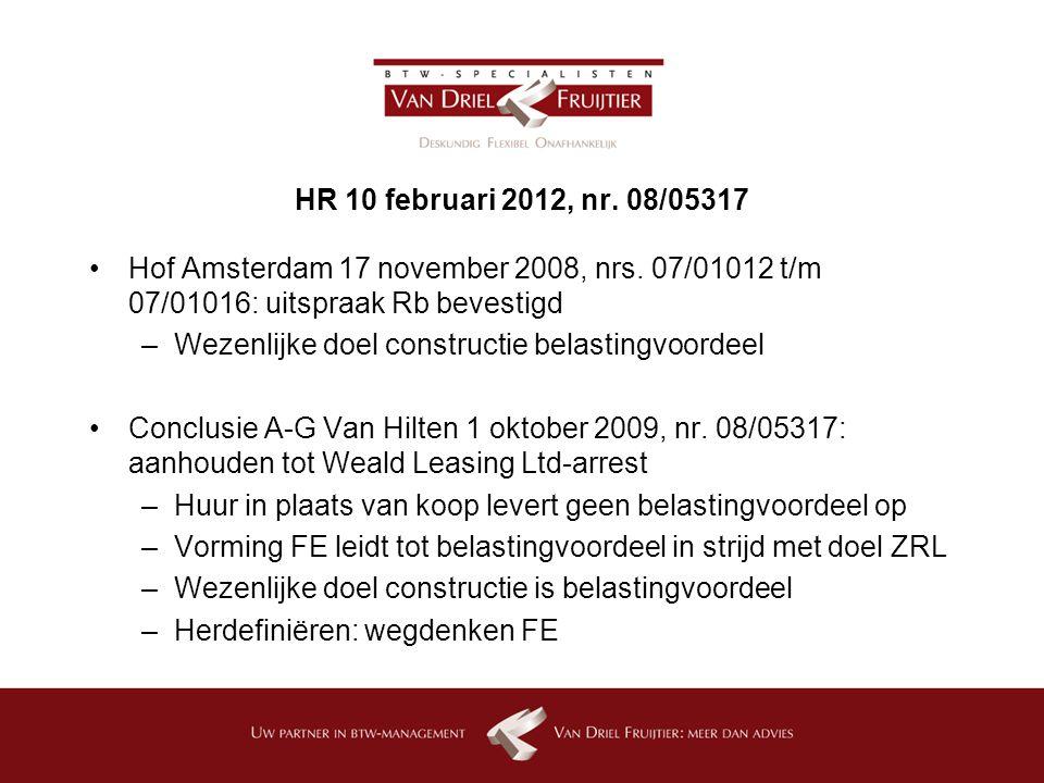 HR 10 februari 2012, nr. 08/05317 Hof Amsterdam 17 november 2008, nrs. 07/01012 t/m 07/01016: uitspraak Rb bevestigd.