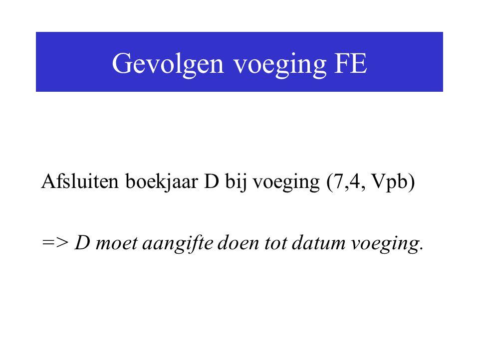Gevolgen voeging FE Afsluiten boekjaar D bij voeging (7,4, Vpb)