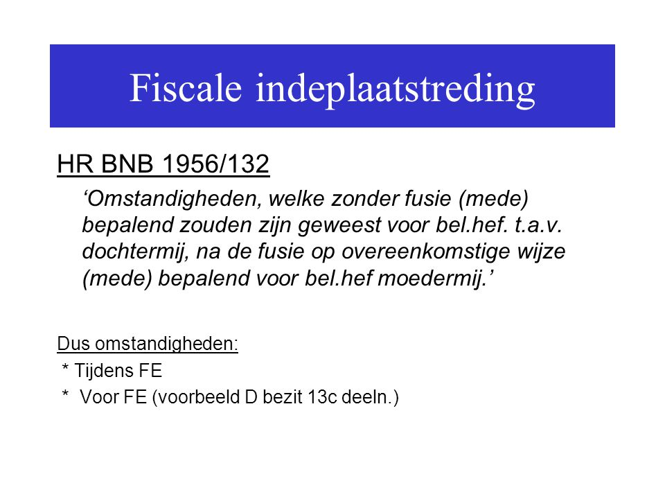 Fiscale indeplaatstreding