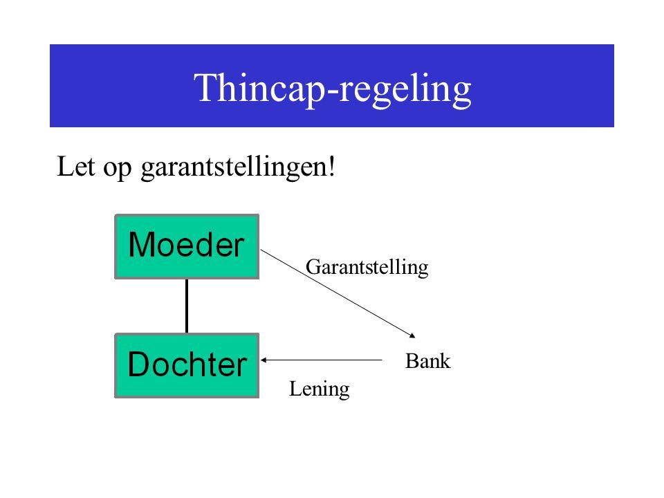Thincap-regeling Let op garantstellingen! Garantstelling Bank Lening