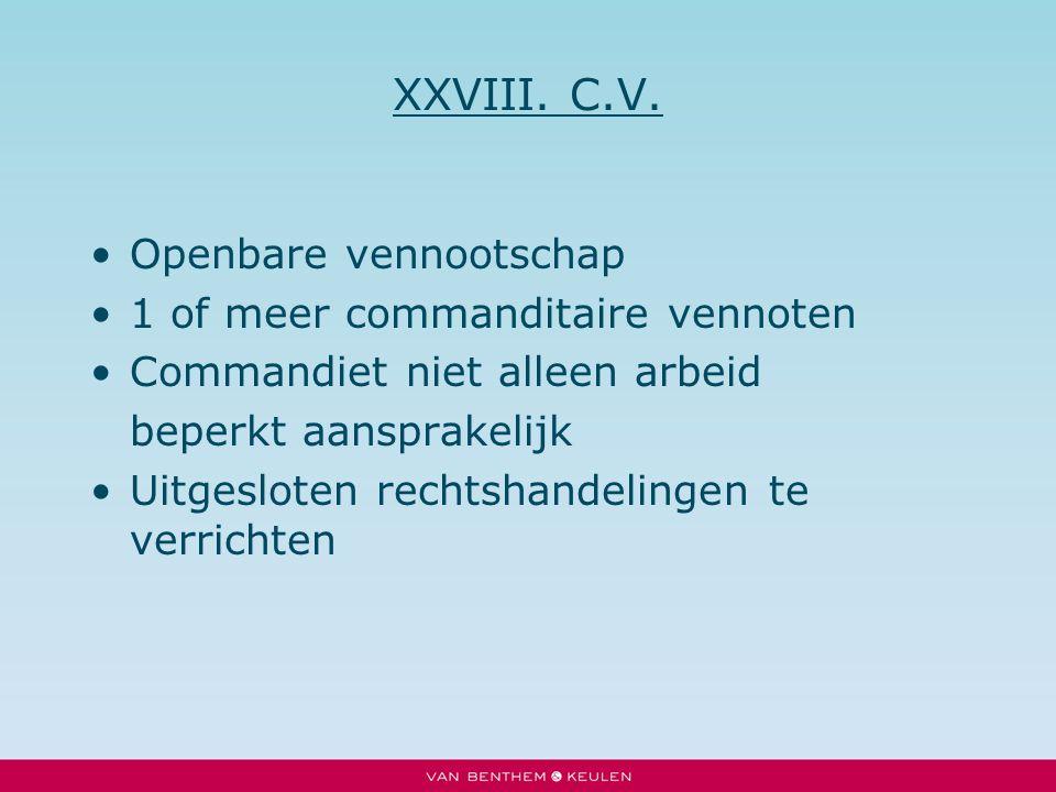 XXVIII. C.V. Openbare vennootschap 1 of meer commanditaire vennoten