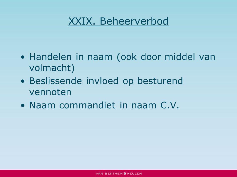 XXIX. Beheerverbod Handelen in naam (ook door middel van volmacht)