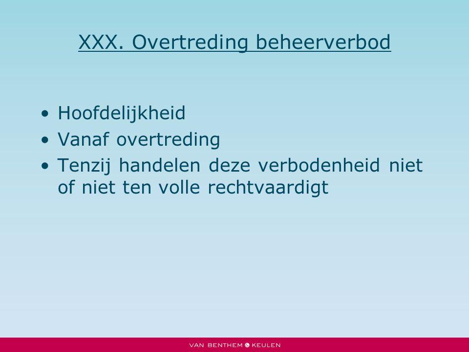 XXX. Overtreding beheerverbod