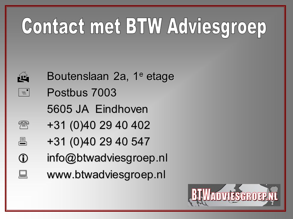 Contact met BTW Adviesgroep
