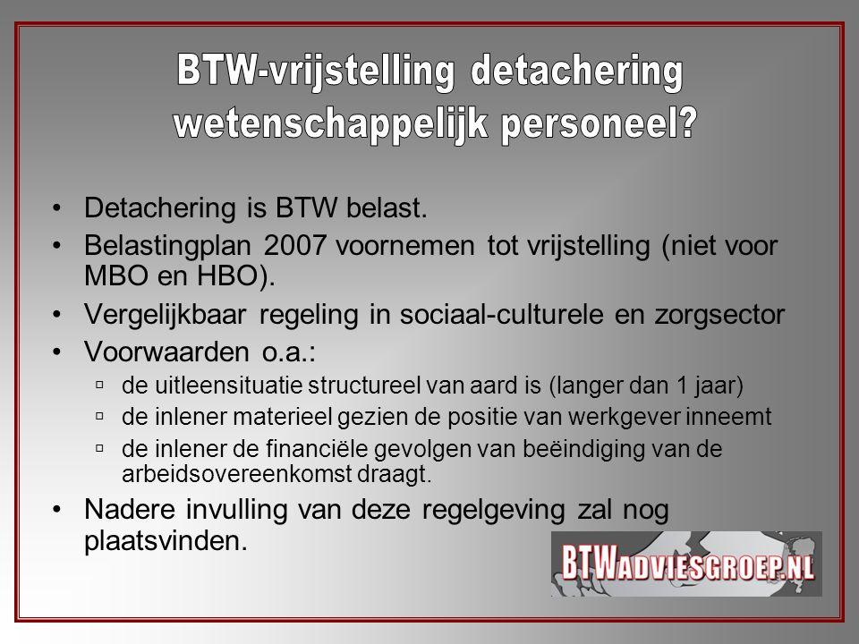 BTW-vrijstelling detachering wetenschappelijk personeel