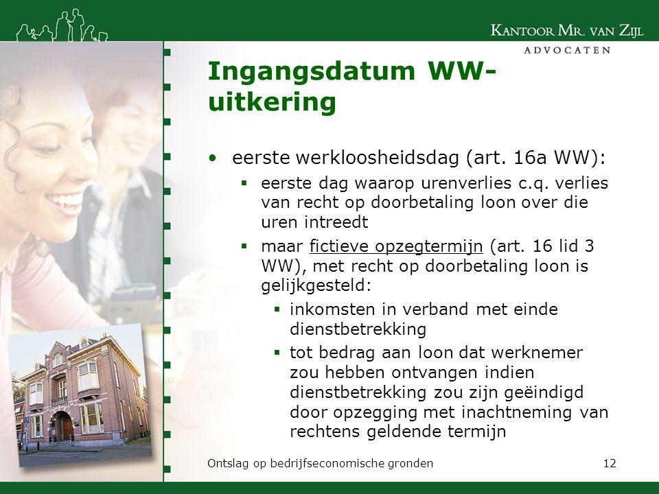 Ingangsdatum WW-uitkering