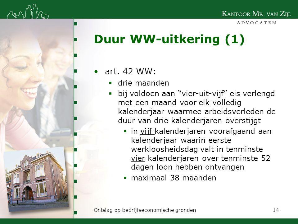 Duur WW-uitkering (1) art. 42 WW: drie maanden