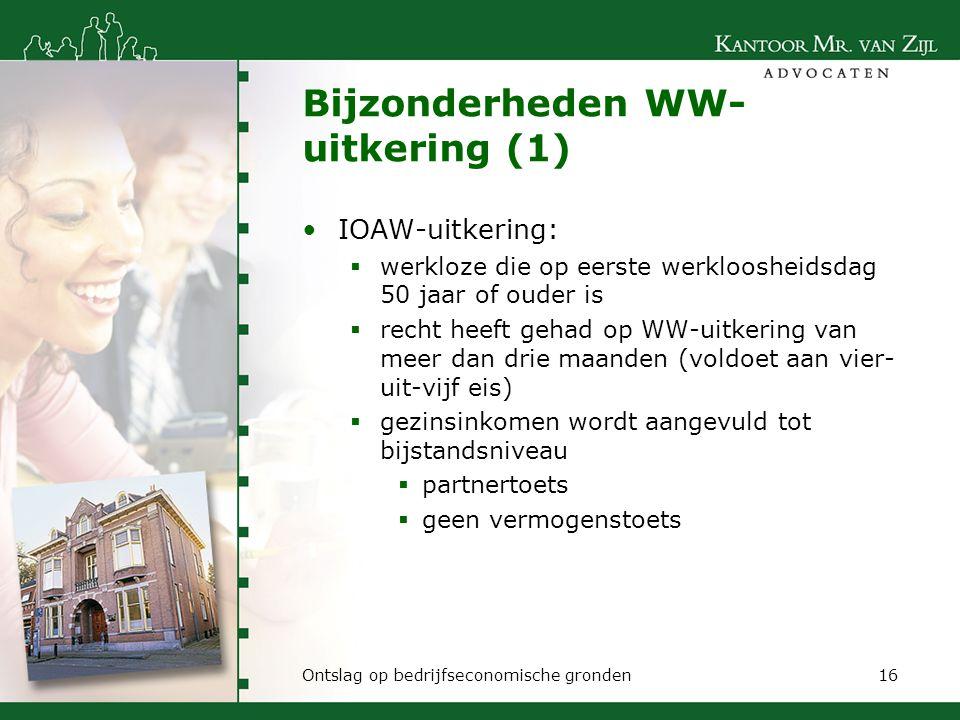 Bijzonderheden WW-uitkering (1)