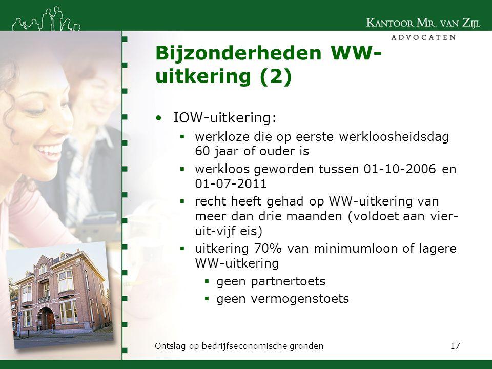 Bijzonderheden WW-uitkering (2)