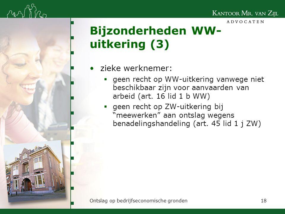 Bijzonderheden WW-uitkering (3)