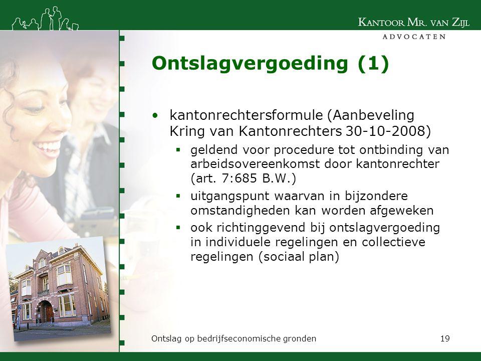 Ontslagvergoeding (1) kantonrechtersformule (Aanbeveling Kring van Kantonrechters 30-10-2008)
