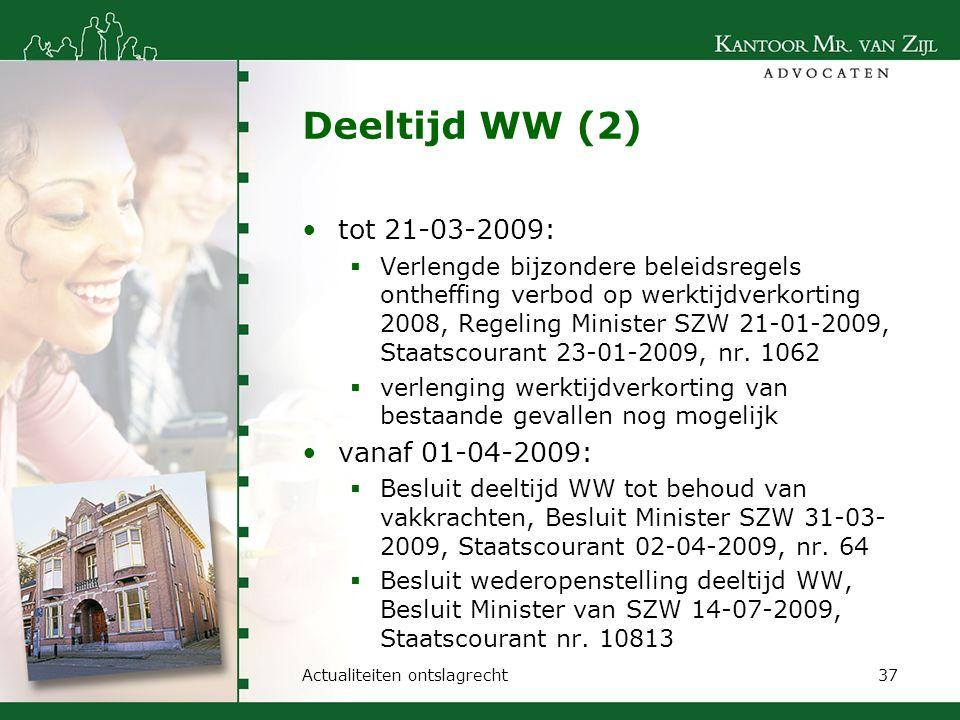 Deeltijd WW (2) tot 21-03-2009: vanaf 01-04-2009: