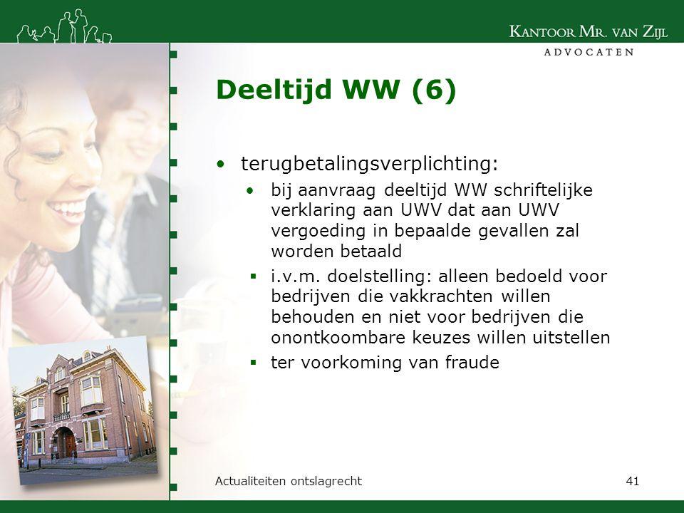 Deeltijd WW (6) terugbetalingsverplichting: