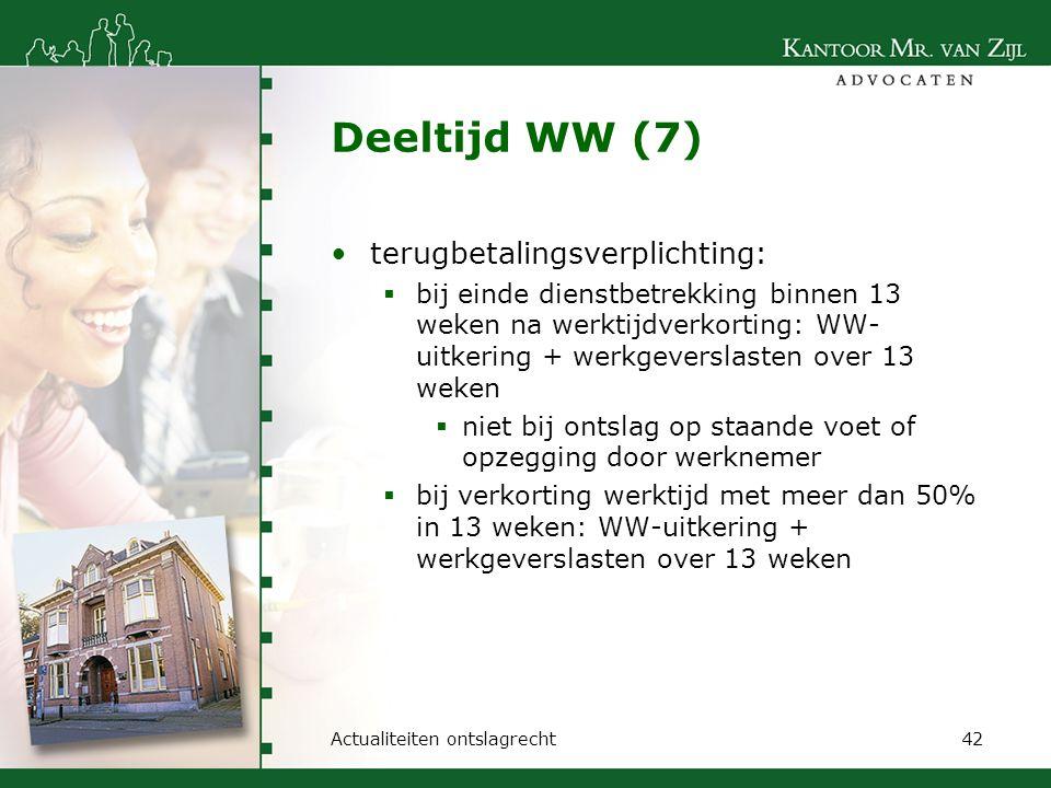 Deeltijd WW (7) terugbetalingsverplichting:
