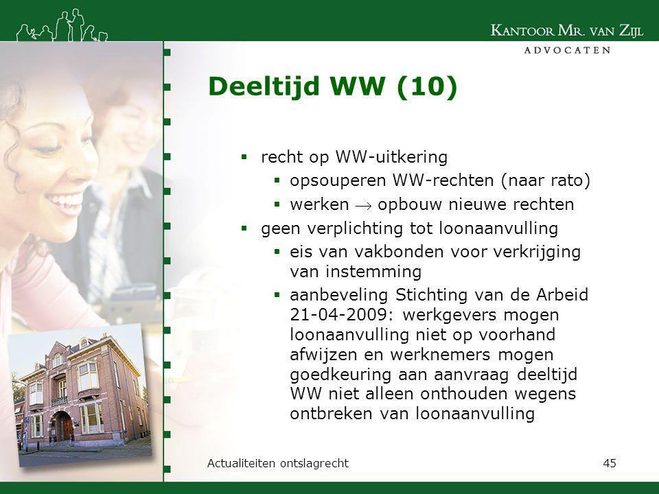 Deeltijd WW (10) recht op WW-uitkering
