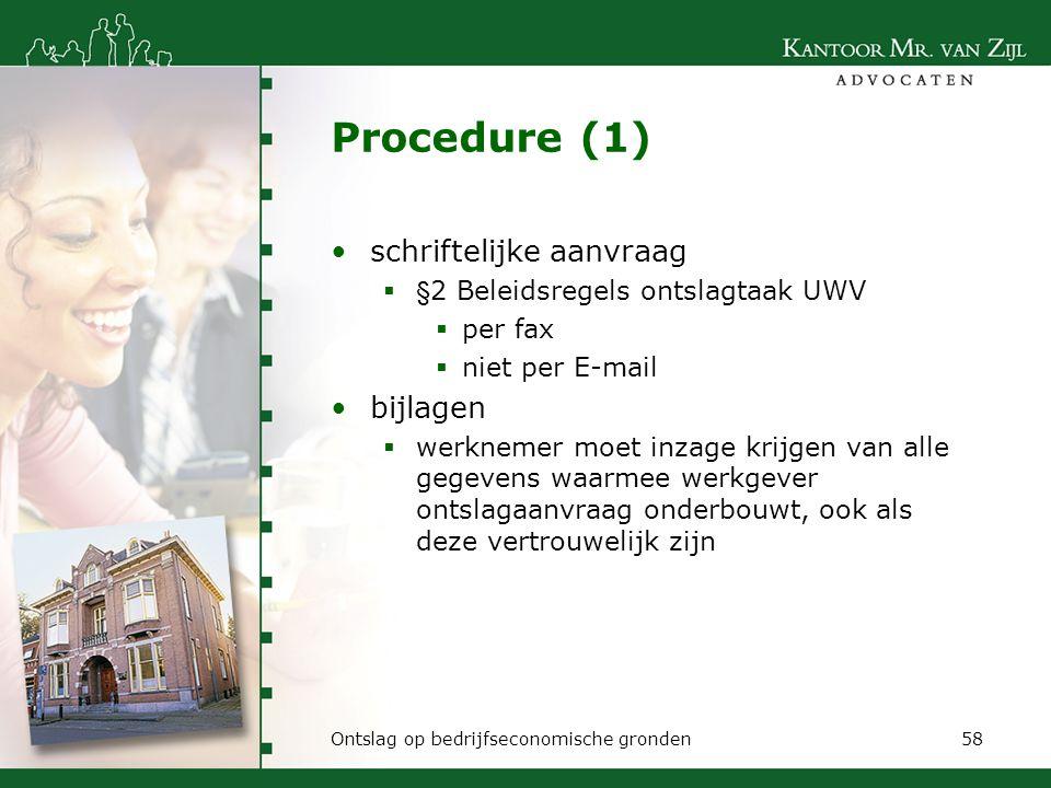Procedure (1) schriftelijke aanvraag bijlagen