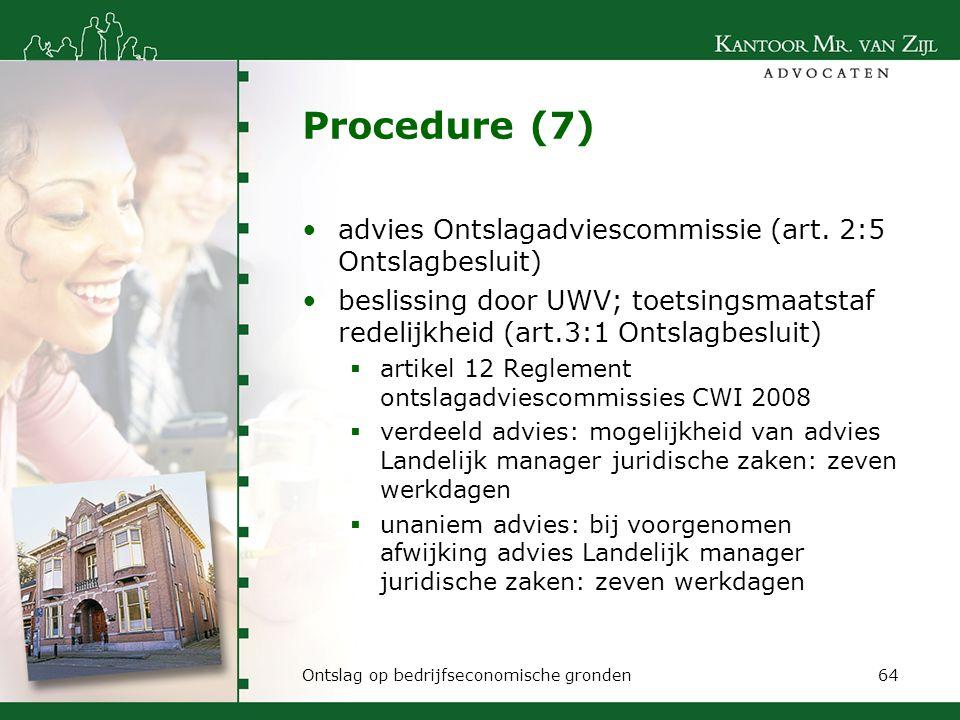 Procedure (7) advies Ontslagadviescommissie (art. 2:5 Ontslagbesluit)