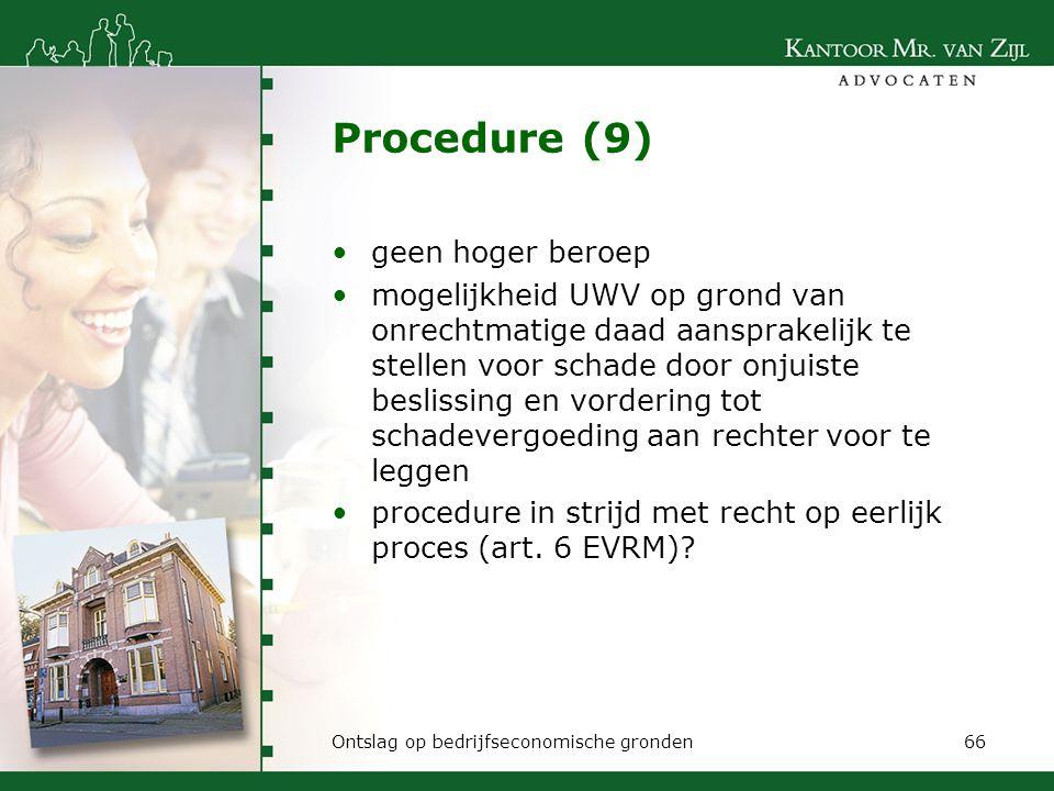 Procedure (9) geen hoger beroep