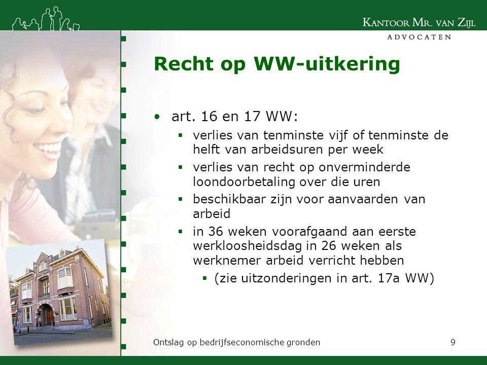 Recht op WW-uitkering art. 16 en 17 WW: