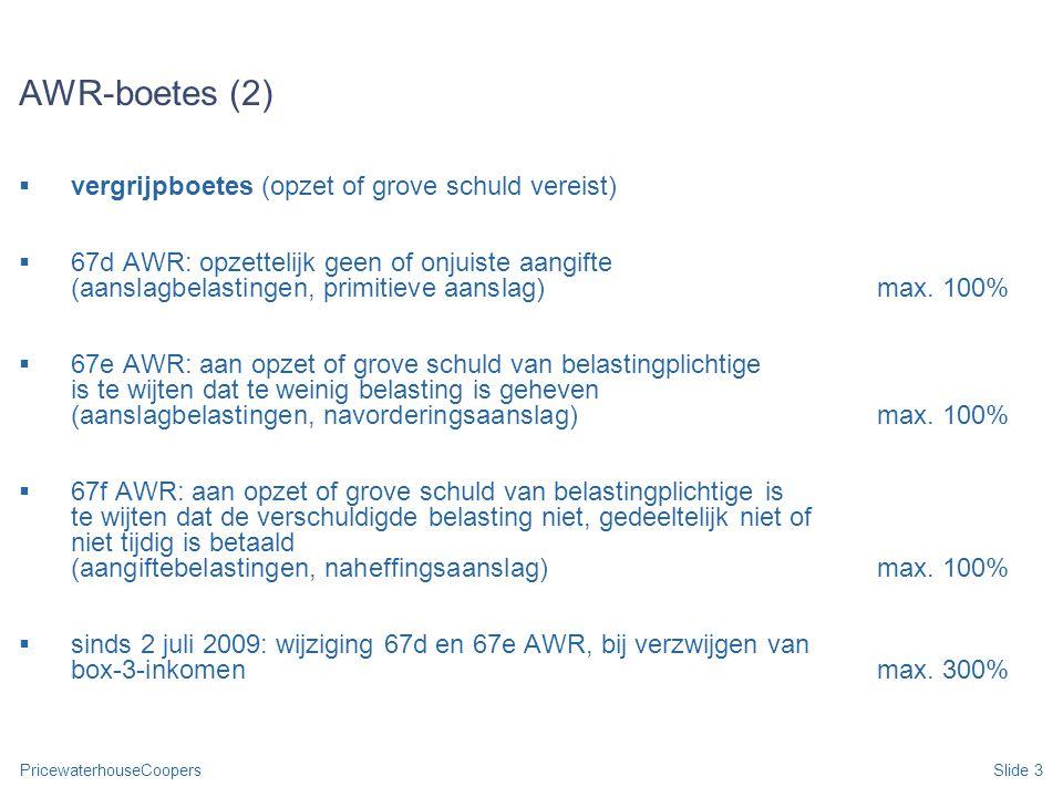 AWR-boetes (2) vergrijpboetes (opzet of grove schuld vereist)