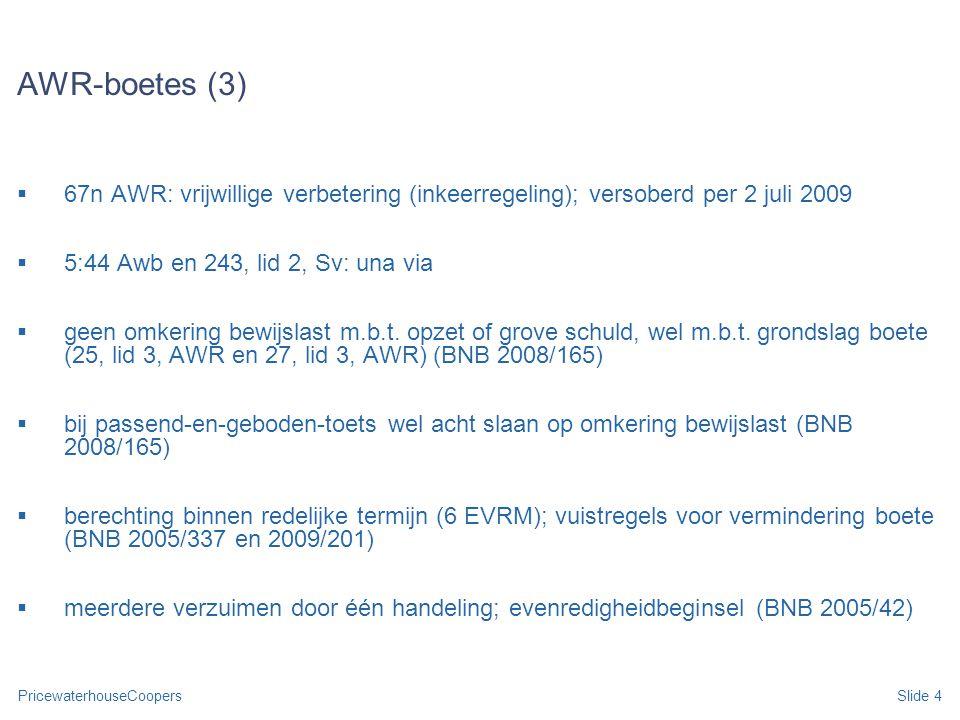 AWR-boetes (3) 67n AWR: vrijwillige verbetering (inkeerregeling); versoberd per 2 juli 2009. 5:44 Awb en 243, lid 2, Sv: una via.