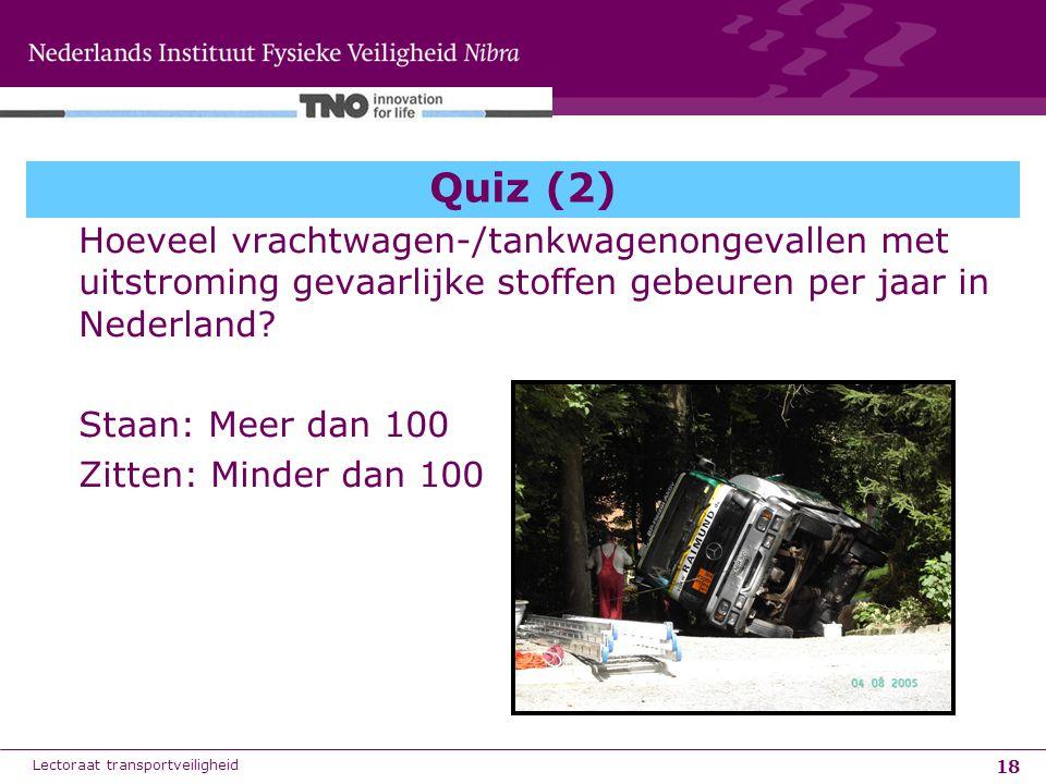 Quiz (2) Hoeveel vrachtwagen-/tankwagenongevallen met uitstroming gevaarlijke stoffen gebeuren per jaar in Nederland