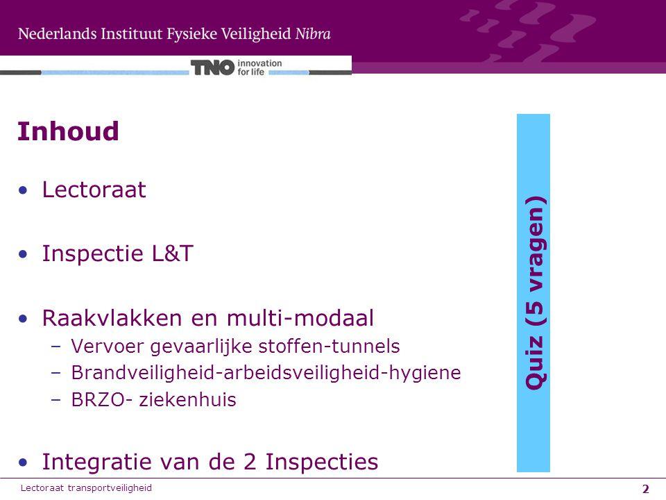 Inhoud Lectoraat Inspectie L&T Raakvlakken en multi-modaal