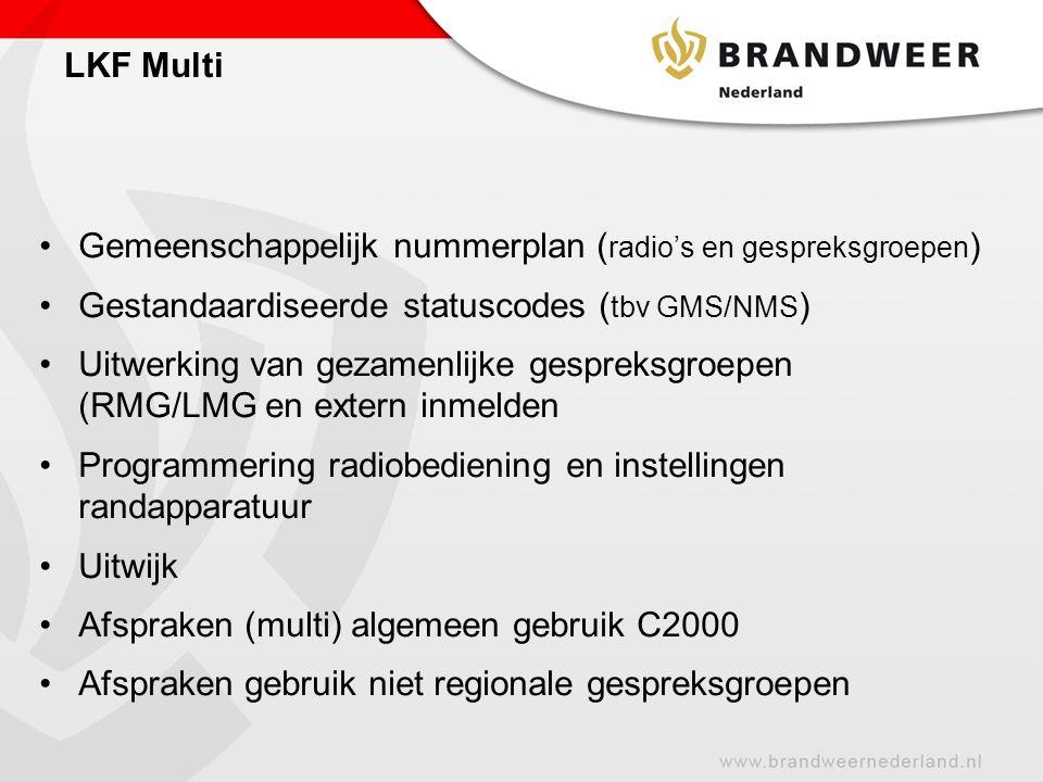 LKF Multi Gemeenschappelijk nummerplan (radio's en gespreksgroepen) Gestandaardiseerde statuscodes (tbv GMS/NMS)