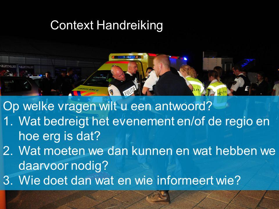 Context Handreiking Op welke vragen wilt u een antwoord Wat bedreigt het evenement en/of de regio en hoe erg is dat