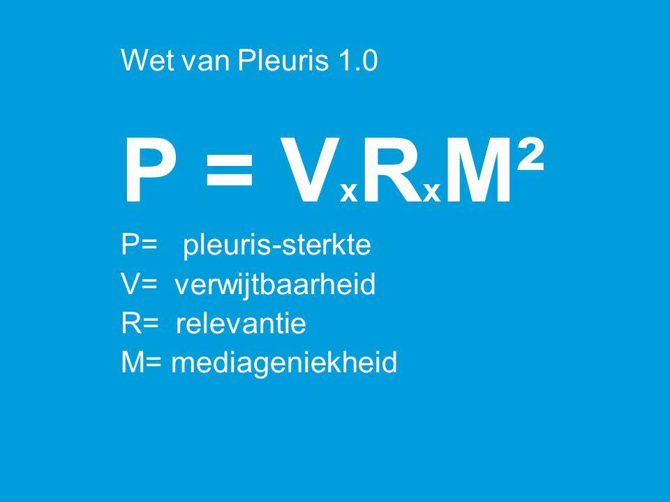 P = VxRxM² Wet van Pleuris 1.0 P= pleuris-sterkte V= verwijtbaarheid