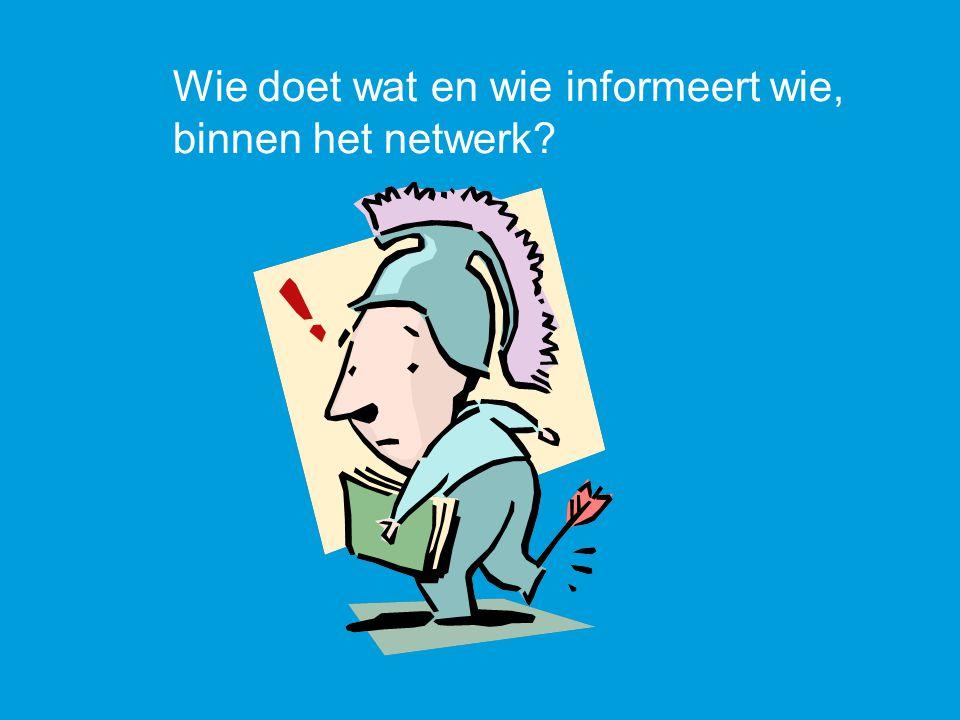 Wie doet wat en wie informeert wie, binnen het netwerk