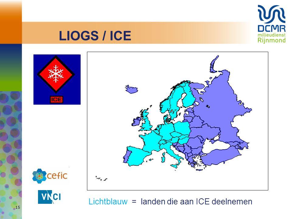 LIOGS / ICE Lichtblauw = landen die aan ICE deelnemen