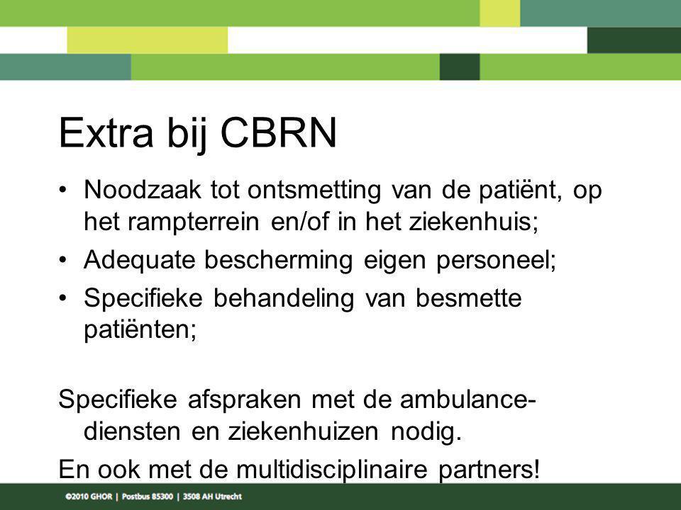 Extra bij CBRN Noodzaak tot ontsmetting van de patiënt, op het rampterrein en/of in het ziekenhuis;