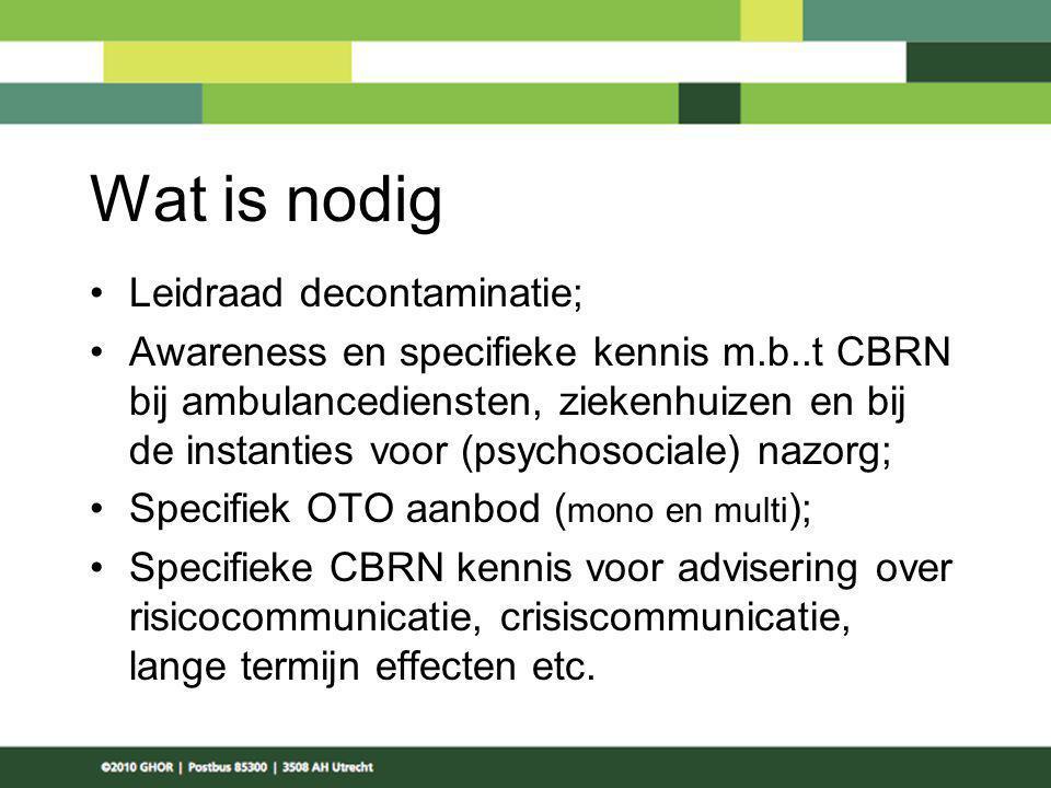 Wat is nodig Leidraad decontaminatie;