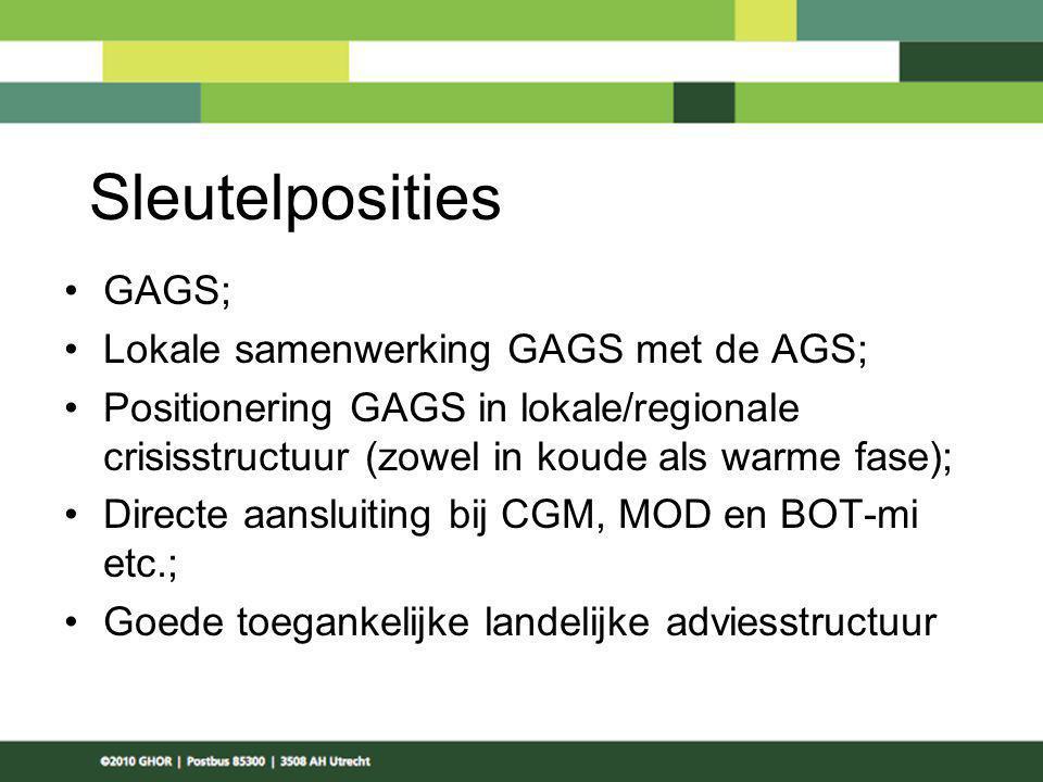 Sleutelposities GAGS; Lokale samenwerking GAGS met de AGS;