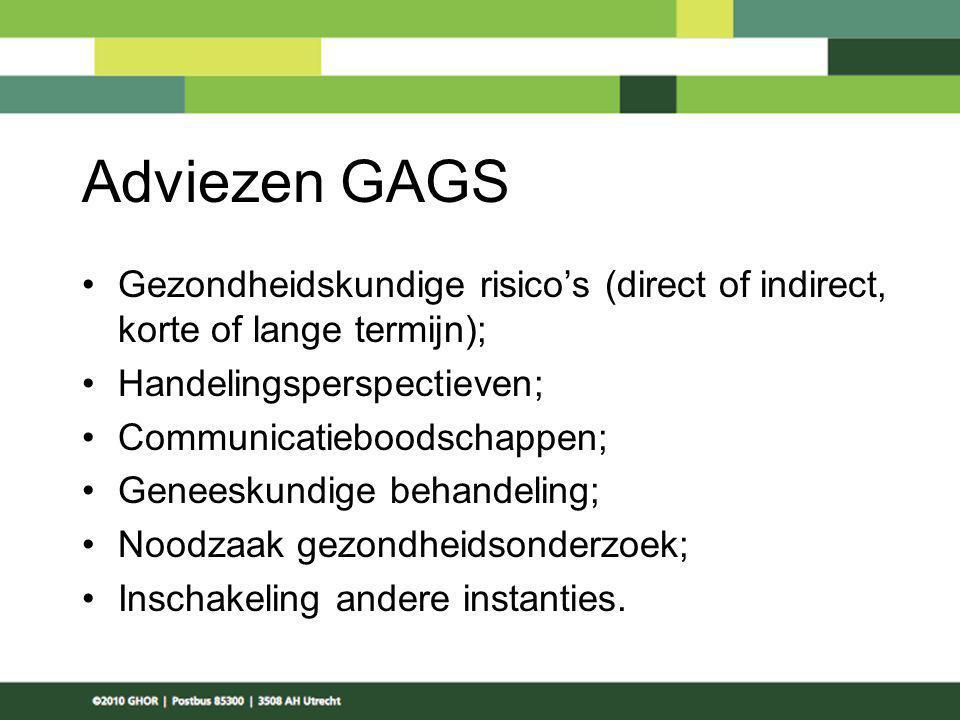 Adviezen GAGS Gezondheidskundige risico's (direct of indirect, korte of lange termijn); Handelingsperspectieven;